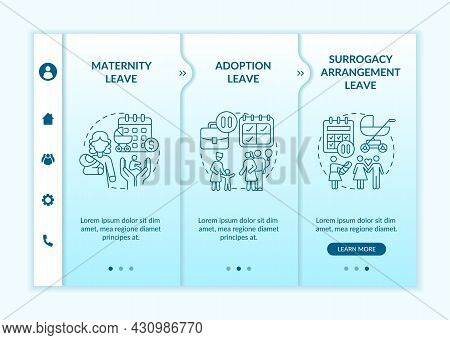 Maternity Leave Options Onboarding Vector Template. Responsive Mobile Website With Icons. Web Page W