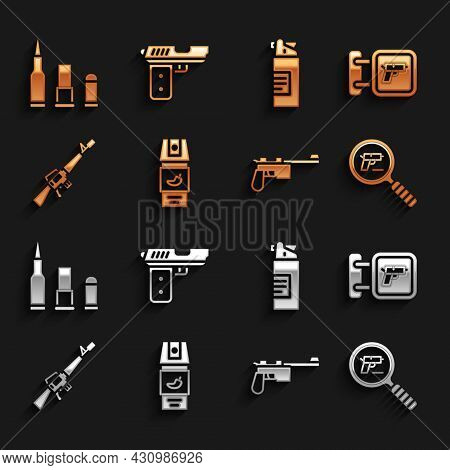 Set Pepper Spray, Hunting Shop Weapon, Pistol Or Gun Search, Mauser, M16a1 Rifle, Weapons Oil Bottle