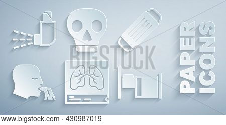 Set Lungs X-ray, Medical Protective Mask, Vomiting Man, Hospital Bed, Skull And Inhaler Icon. Vector
