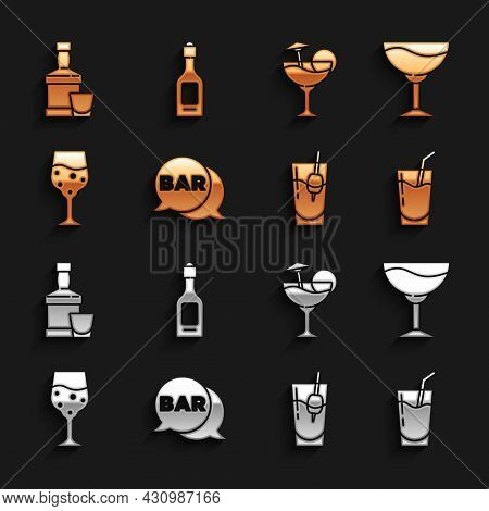 Set Street Signboard With Bar, Wine Glass, Cocktail, Bloody Mary, Glass Of Champagne, Whiskey Bottle