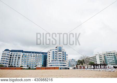 Sunny Beach, Bulgaria - June 17, 2021: Chaika Beach Hotel. Resort Sunny Beach Bulgaria View Of The B