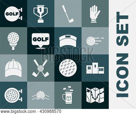 Set Golf Course Layout, Award Over Sports Winner Podium, Ball, Club, Label, On Tee, And Sun Visor Ca