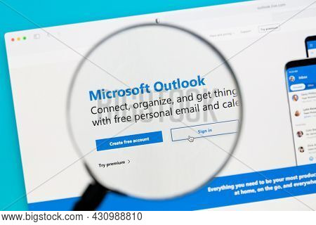 Ostersund, Sweden - Feb 15, 2021: Microsoft outlook website.. Microsoft outlook is a personal information manager from Microsoft,