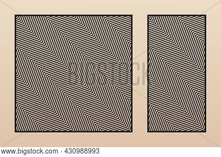 Laser Cut Decorative Panels. Vector Template With Abstract Geometric Pattern, Zigzag Lines, Diagonal