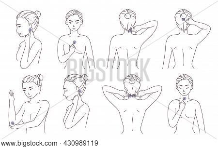 Woman Pressing Acupressure Points On Neck, Elbow, Head, Breast To Relieve Pain And Muscle Tension, V