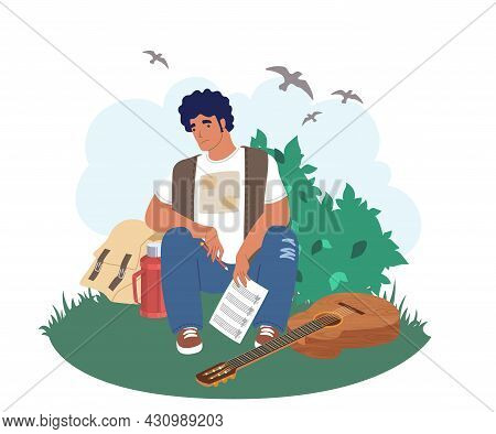 Creativity Crisis, Burnout. Sad Musician Guitarist With Pencil And Song Musical Notes, Flat Vector I