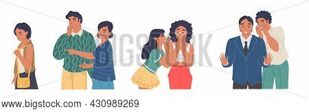 People Gossiping, Whispering, Spreading Rumors Pointing At Passing Sad Girl, Vector Illustration.