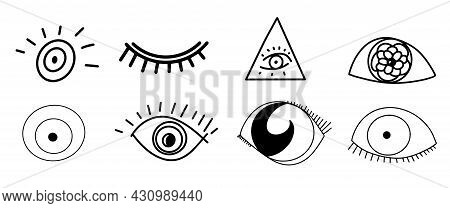 Set Of Amulet From The Evil Eye, Collection Of Eyes From The Evil Eye, Set Of Doodles, Eye Icons, Se