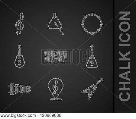 Set Drum, Treble Clef, Electric Bass Guitar, Guitar, Xylophone, Tambourine And Icon. Vector