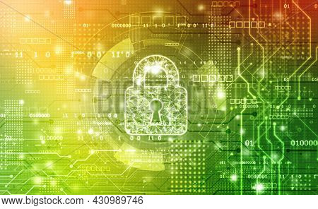 Cyber Security And Safety Information, Personal Data Concept. Digital Padlocks On Abstract Technolog