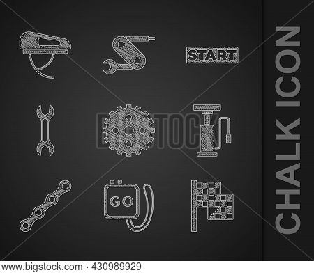 Set Bicycle Sprocket Crank, Stopwatch, Checkered Flag, Air Pump, Chain, Wrench Spanner, Ribbon Finis