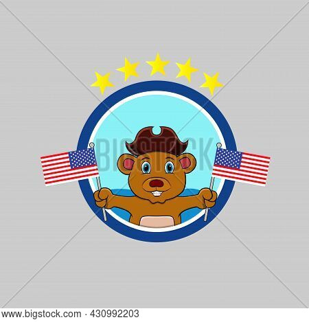 Happy Columbus Day America With Cute Beer And Bring Flags, Circle Label, Cartoon, Mascot, Animals, C