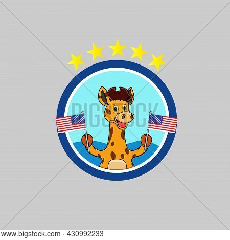 Happy Columbus Day America With Cute Giraffe And Bring Flags, Circle Label, Cartoon, Mascot, Animals