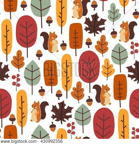 Seamless Pattern With Cute Squirrel, Autumn Leaves, Trees, Nuts, Acorns. Thanksgiving Fall Autumn Ve
