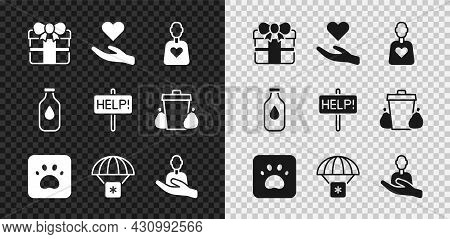 Set Gift Box, Heart In Hand, Volunteer, Paw Print, Humanitarian Aid, Caring For People, Bottle Of Wa