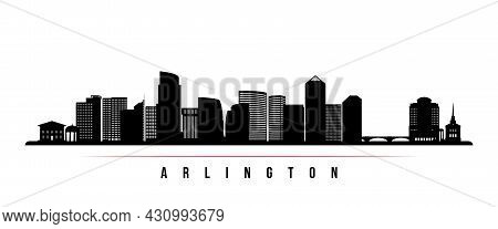 Arlington Skyline Horizontal Banner. Black And White Silhouette Of Arlington, Virginia. Vector Templ