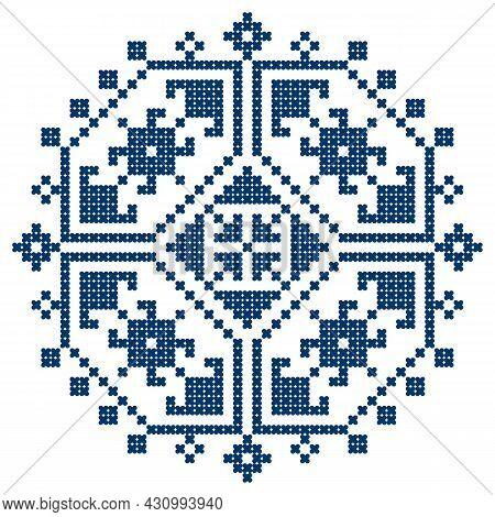 Zmijanski Vez Bosnia And Herzegovina Cross-stitch Style Vector Design Square Ornament  - Traditional