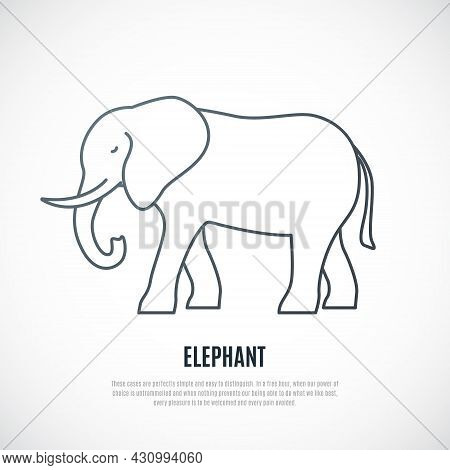 Liner Elephant Icon. Simple Outline Elephant Illustration Isolated On White Background . Vector Embl