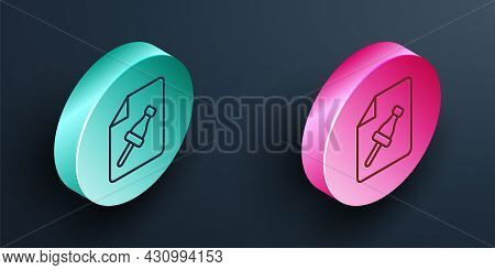 Isometric Line Note Paper With Pinned Pushbutton Icon Isolated On Black Background. Memo Paper Sign.