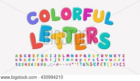 Multicolored Cartoon Alphabet, Bubble Shape Font Rainbow Bright Colors. Uppercase And Lowercase Lett