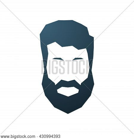 Hipster Avatar Icon. Portrait Of Bearded Man. Fashion Silhouette Of Gentleman. Vector Emblem.