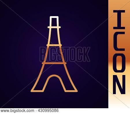 Gold Line Eiffel Tower Icon Isolated On Black Background. France Paris Landmark Symbol. Vector