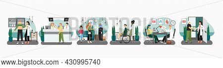 Hospital Scene Set Flat Vector Illustration. Patients In Medical Clinic Reception, Waiting Hall, Doc