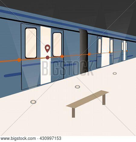 Flat Vector Illustration Of The Metro. Modern Urban Public Transport, Metro Train. Metro Station As