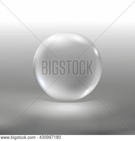 Realistic Glass Sphere, Vector Illustration Eps10. Big Transparent Glossy 3d Ball With Glares  And S