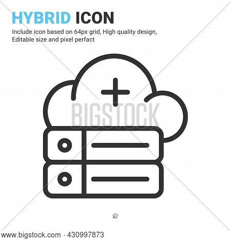 Hybrid Icon Vector With Outline Style Isolated On White Background. Vector Illustration Cloud Databa