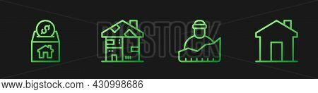 Set Line Growth Of Homeless, Donation And Charity, Homeless Cardboard House And Real Estate. Gradien