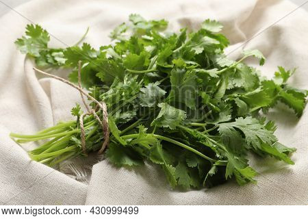 Bunch Of Fresh Green Cilantro With Twine On White Fabric, Closeup