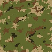 Illustration of a military camouflage with green and brown shades for army background and camo fight clothes wallpapers poster