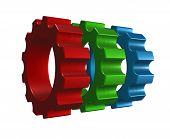 gear wheels in rgb colors on white background - 3d illustration poster