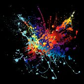 Colourful bright ink splat design with a black background poster