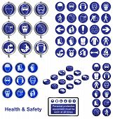 Health and Safety icons and sign collection poster