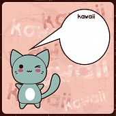 Kawaii card with cute cat on the grunge background. poster