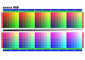 the test table palette RGB in increments of 30 points for printing equipment poster