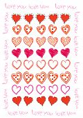 Love background with hand drawn hearts on white poster