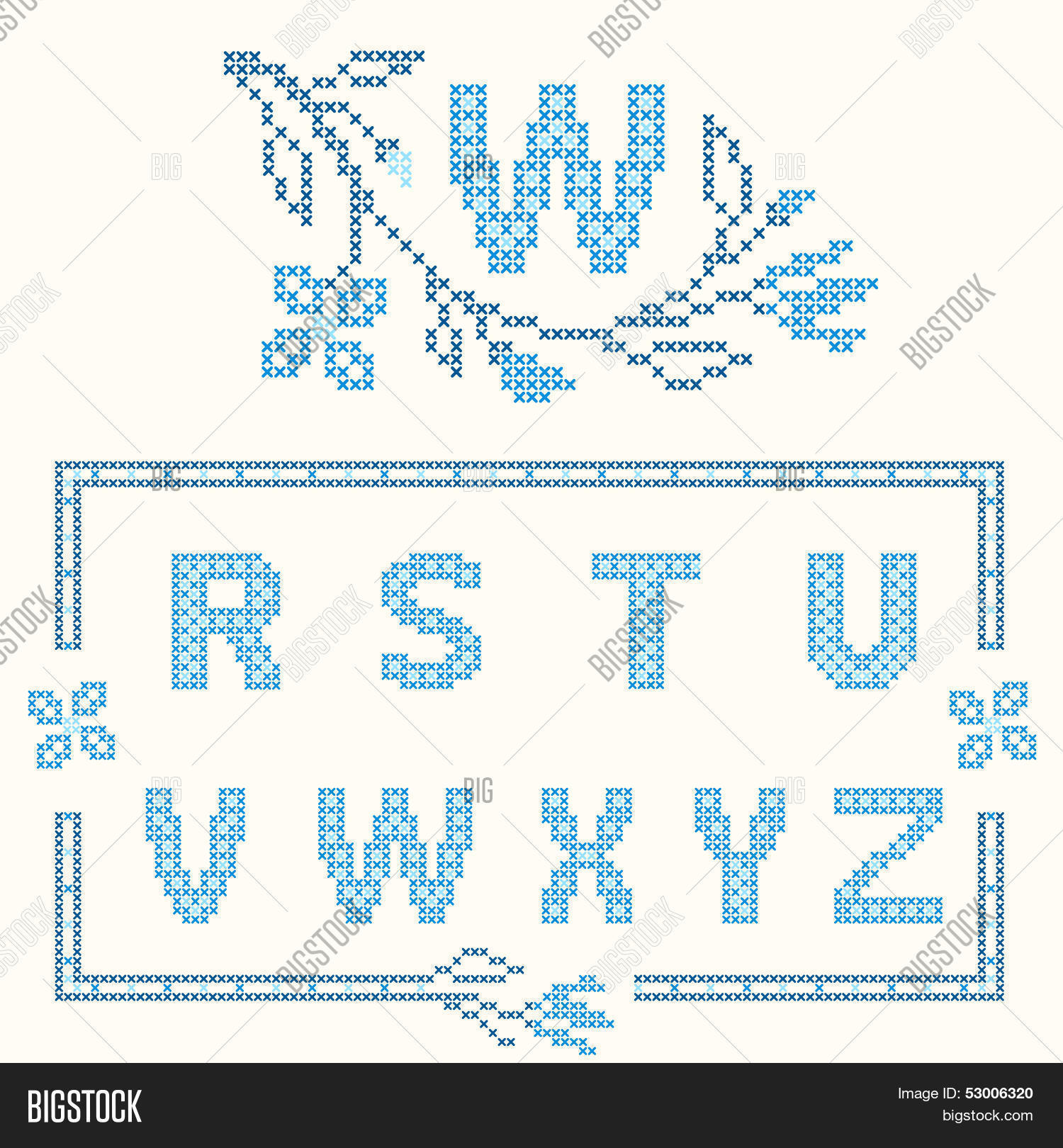 9766f78e788 Design elements for cross-stitch embroidery. Blue colors vector  illustration. Floral branch and one letter. Letters R-Z.