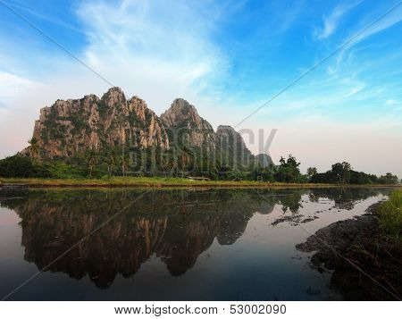 Kownor Rocky Mountain And Water Reflex  In Nakornsawan, North, Thailand