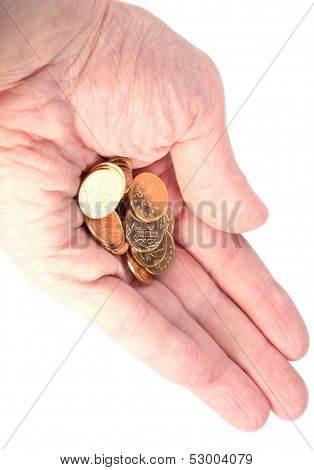 Hand With Copper Coins On White
