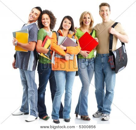 Large group of smiling students. Over white background poster