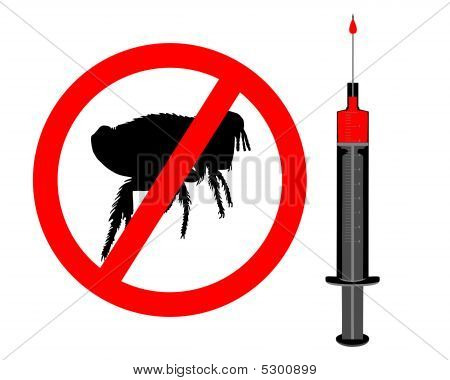 Symbol of inoculation against Fleas with injection