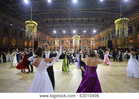 MOSCOW - MAY 25: Couples whirling in the dance at 11th Viennese Ball in Gostiny Dvor on May 25, 2013 in Moscow, Russia.