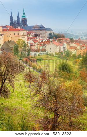 Autumn valley, Prague Castle and Catherdral