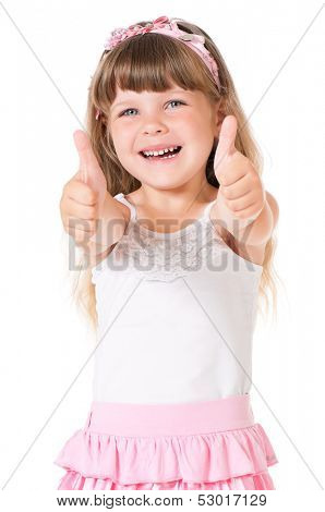 Portrait of cute little girl showing thumbs up, isolated on white background