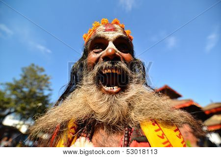 Sadhu man, a holy Hindu man in Pashupatinath, Nepal