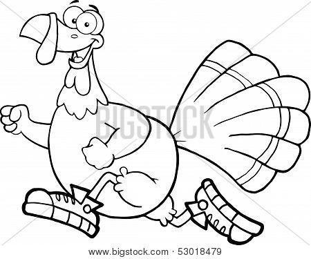 Black and White Happy Turkey Bird Cartoon Character Jogging poster