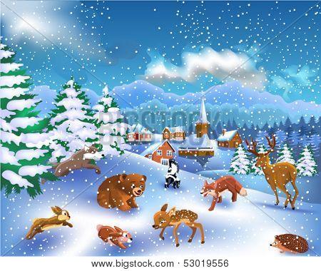 wild animals in a winter landscape